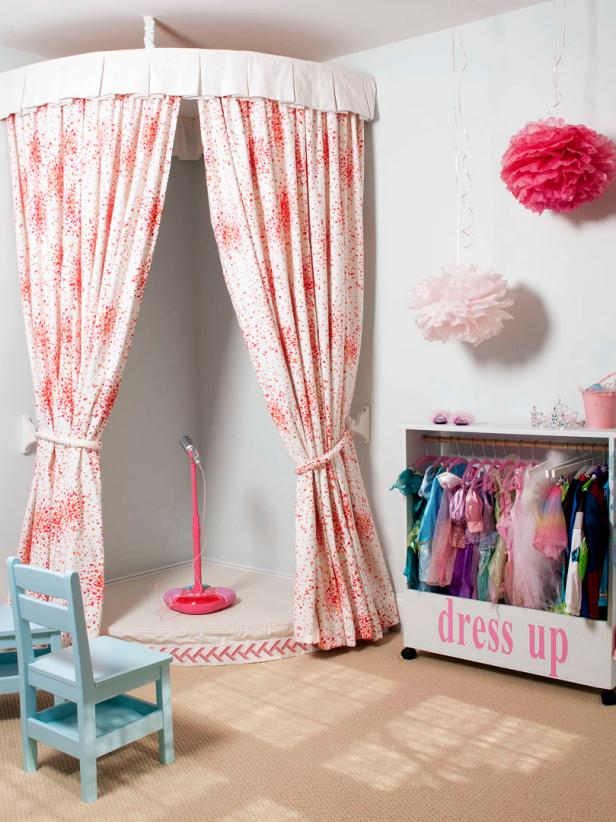 Little Girl's Playroom With Stage and Dress-Up Area