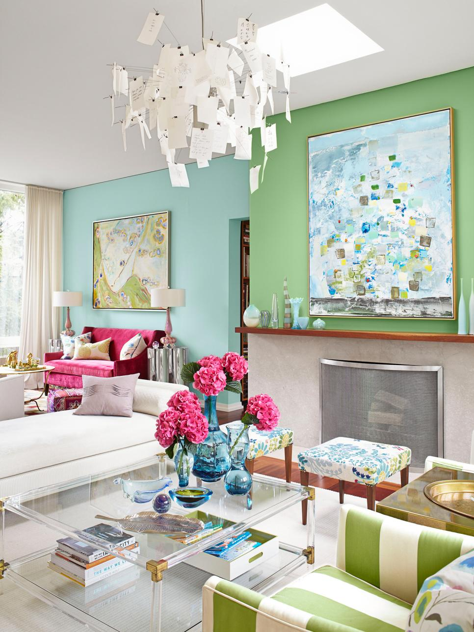 Pink And Green Living Room Inside Sarah Richardsons Colorful Home Hgtv
