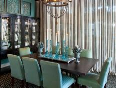 Eclectic Dining Room in Soft Turquoise and Brown