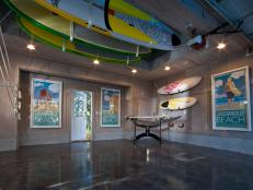 Beachy Garage With Surfboard Storage