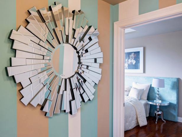 Tan, Green, White Stripes on Wall With Starburst Mirror