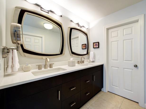 Contemporary White Bathroom With Black Dual Vanity