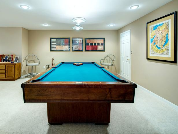 Traditional Neutral Game Room with Pool Table