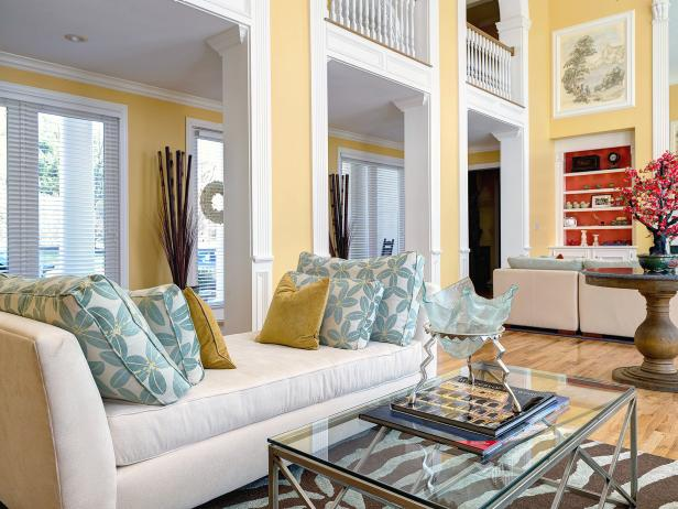 Yellow Cathedral-Style Living Room