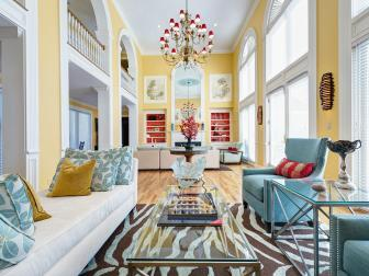 Eclectic Living Room With Yellow Walls