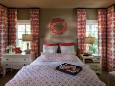 Earth-Toned Bedroom With Red and White Accents