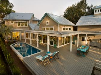 Outdoor Entertaining Deck With Pool and Outdoor Kitchen
