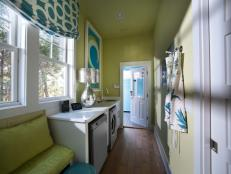 Contemporary Blue and Green Laundry Room With Bench