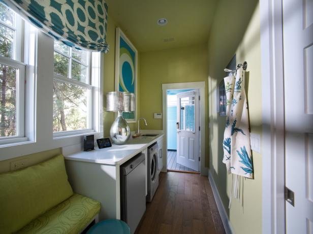Contemporary Blue and Green Laundry Room With Folding Counter