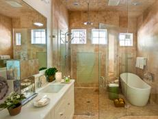 Luxurious Master Bathroom With Freestanding Soaker Tub