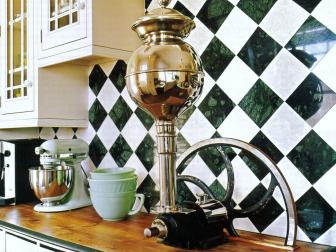 Harlequin Backsplash Uplifts a Traditional Kitchen Design