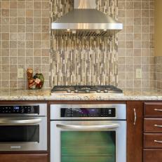 Glass And Natural Stone Tile Kitchen Backsplash