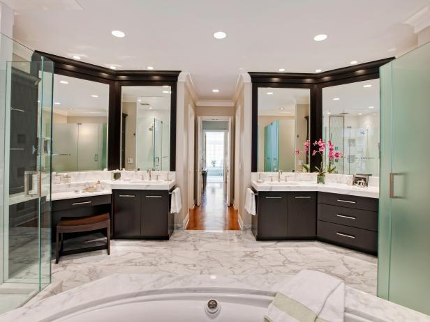 Transitional White Bathroom With Double Vanities & Marble Floor