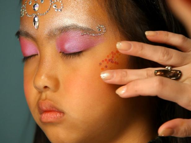 Adding Glitter to Fairy Princess Halloween Makeup