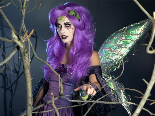 Striking Glam Dark Fairy Halloween Costume With Purple Accessories