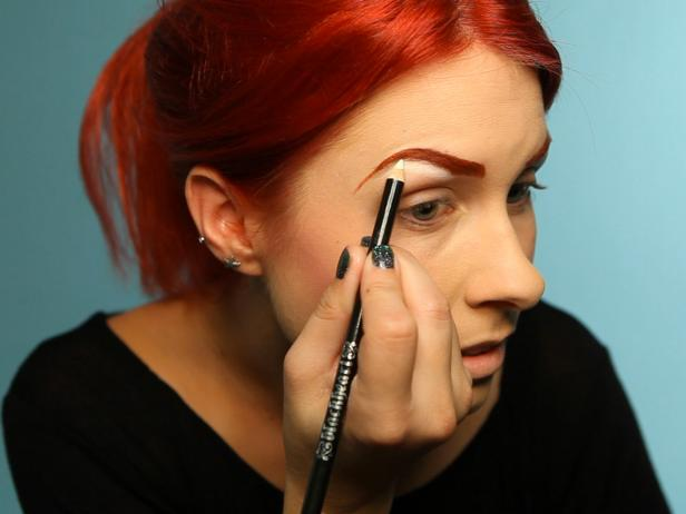 Use a white eyeliner pencil to define under brow bone then smudge.