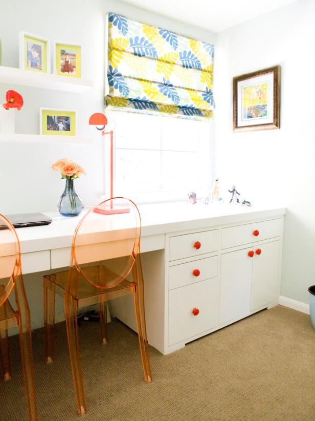 White Contemporary Home Office with Orange, Yellow, and Blue Accents