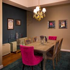 Glamorous Dining Room With Fuchsia Chairs