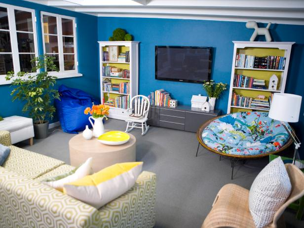 Eclectic Blue Living Room