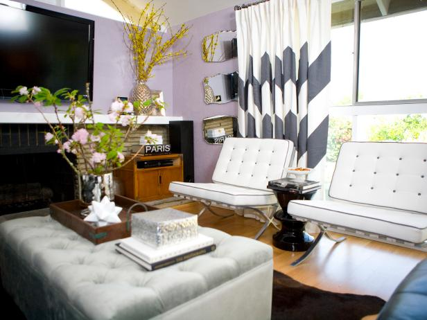 Midcentury Modern Purple Living Room