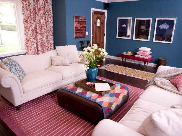 Blue Country Living Room With White Sofas