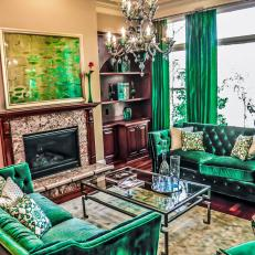 Eclectic Living Room Uses Green Velvet For Extra Sophistication