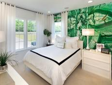 Captivating Emerald Green Accent Wall in Bedroom