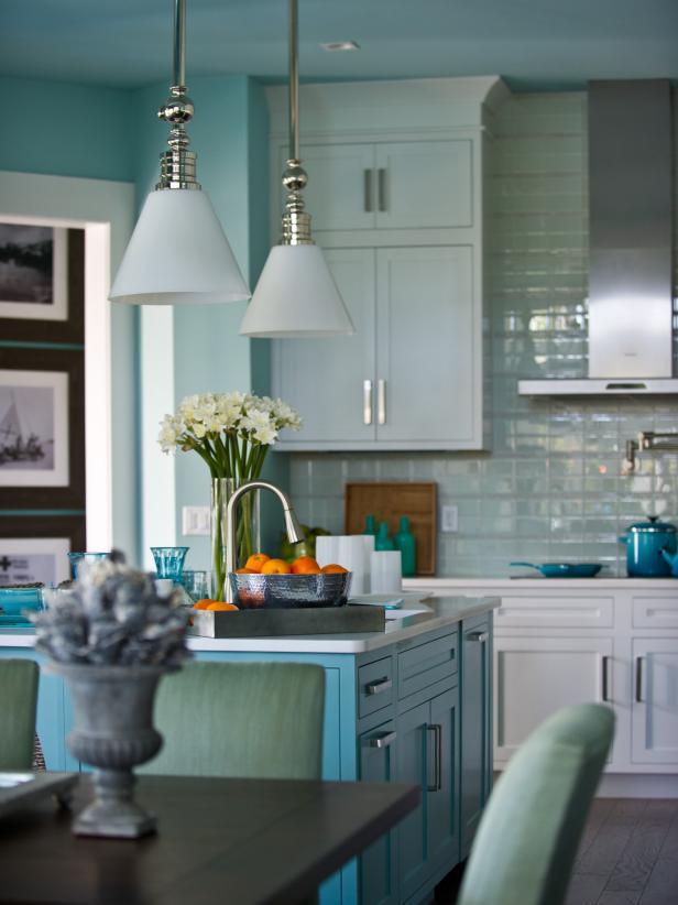 Beachy Blue Kitchen With Pendant Lighting Hgtv