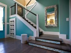 Blue Foyer With Tile Stair Risers