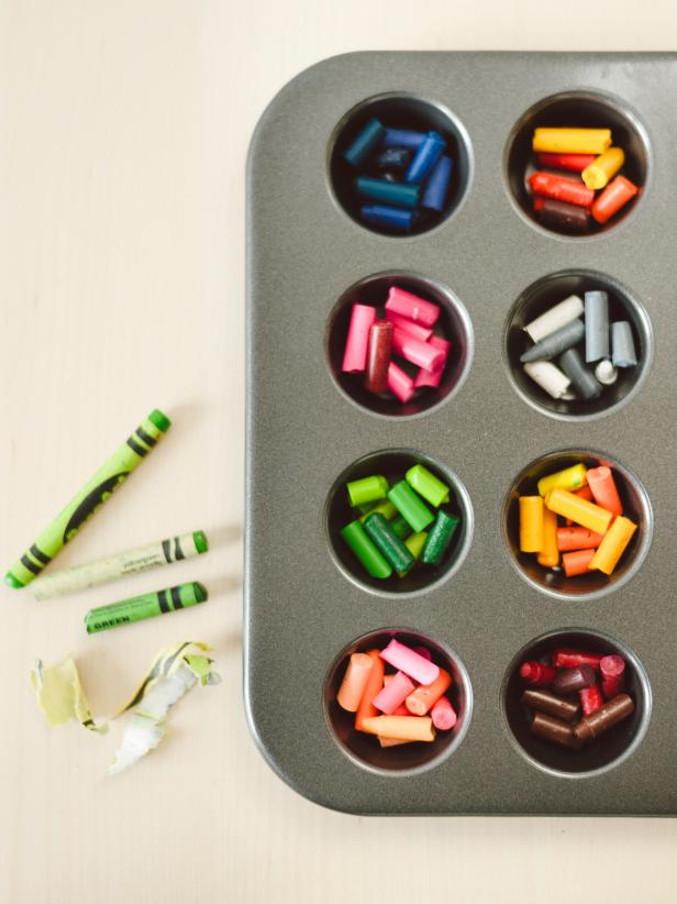 Arrange Crayon Pieces in Mini Muffin Pan