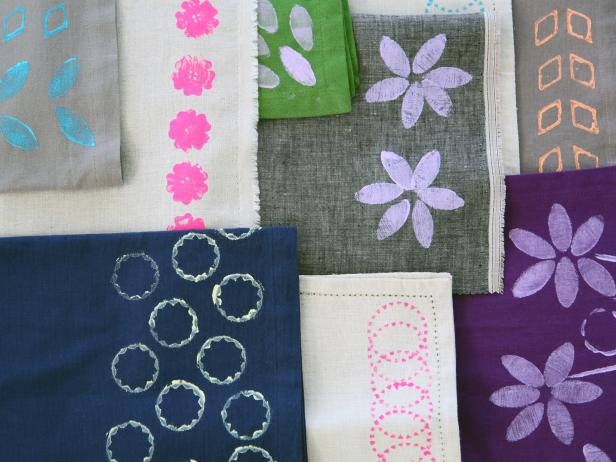 Block Print Napkins With DIY Stamps