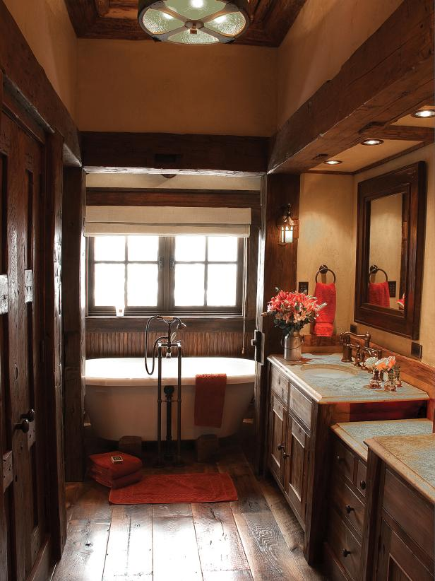 Rustic Bathroom With Clawfoot Soaking Tub
