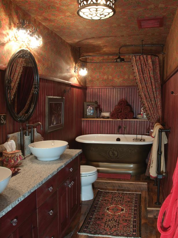 Red Bathroom With Wallpaper, Beadboard & Free-Standing Tub