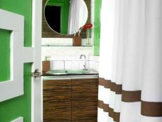 Kelly Green Bathroom With Contemporary Wood Vanity