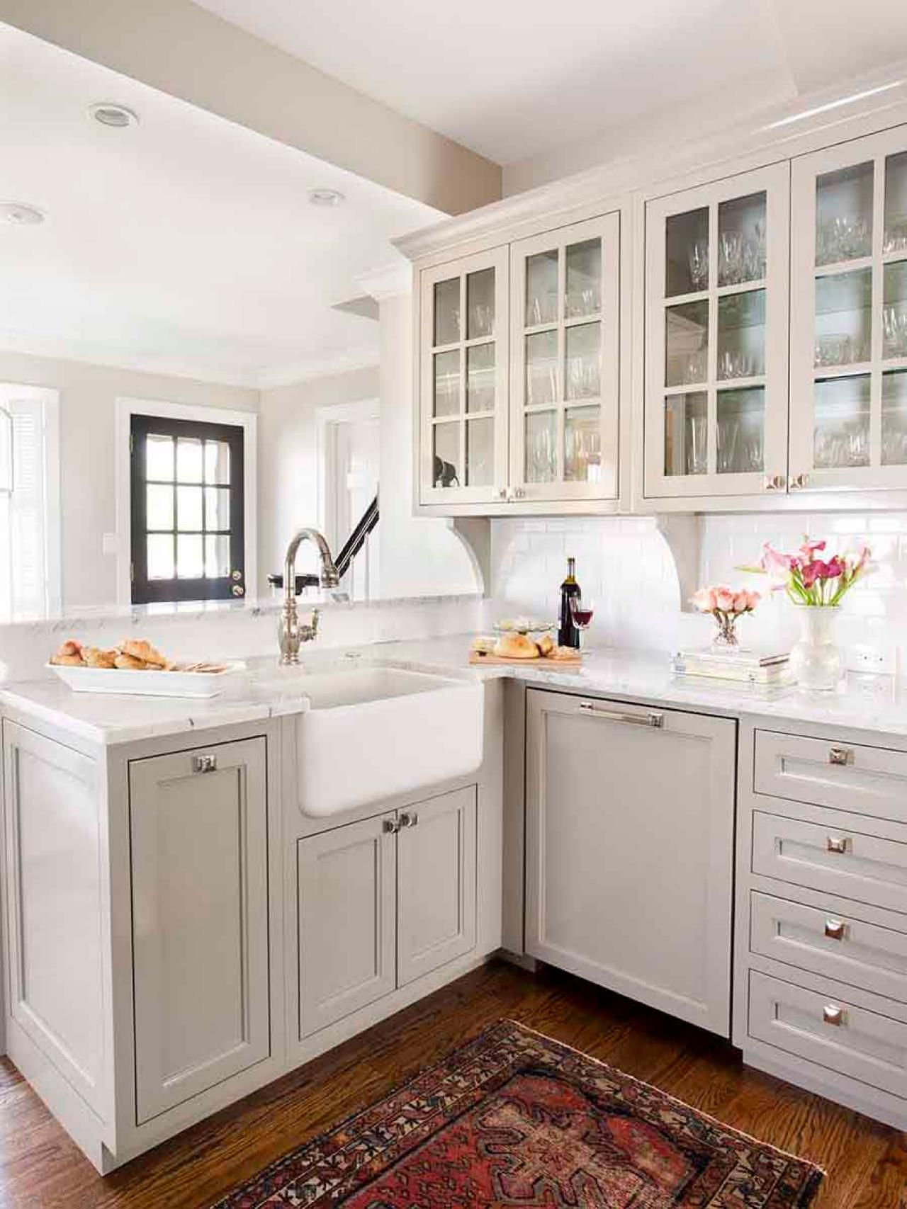Transitional Kitchen With Gray Cabinets And Farmhouse Sink A Lovely