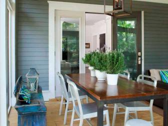 Transitional Outdoor Dining Area With Antique Blue Bench