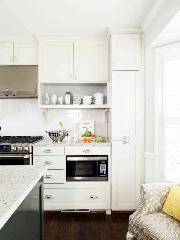 Traditional White Kitchen With Built-In Microwave