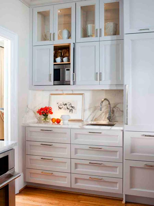 White Butler Pantry with Prep Sink and Glass-Front Cabinets