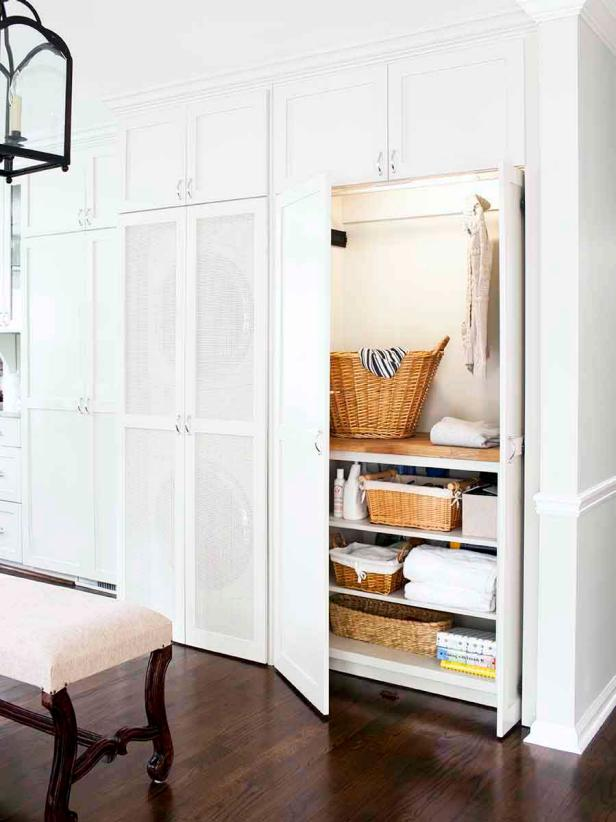 Hidden White Laundry Closet