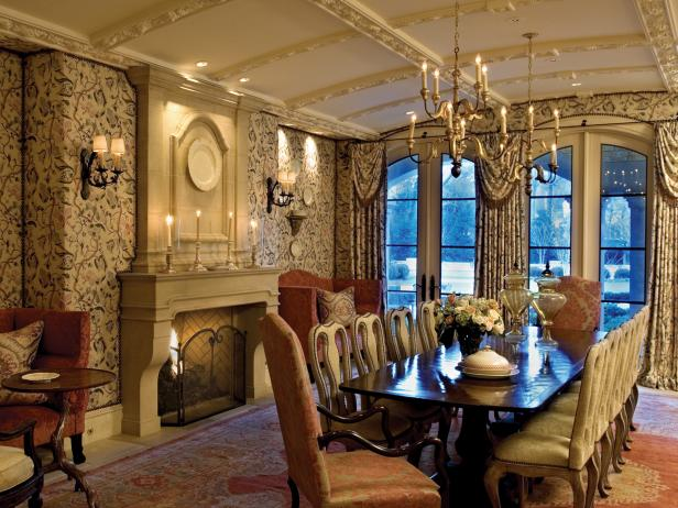 Neutral Dining Room With Upholstered Walls and Barrel Ceiling