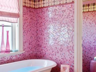 Teen Bathroom With Pink Mosaic Tile