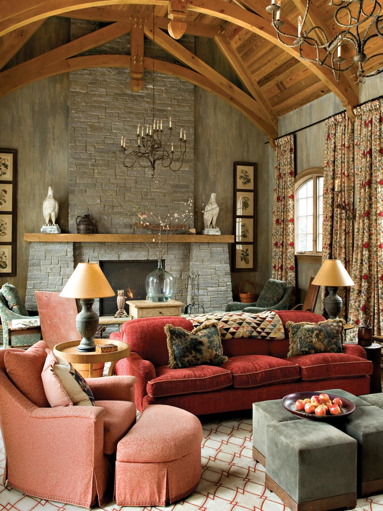 Family Room Library: Old World Living Room With Cozy Charm