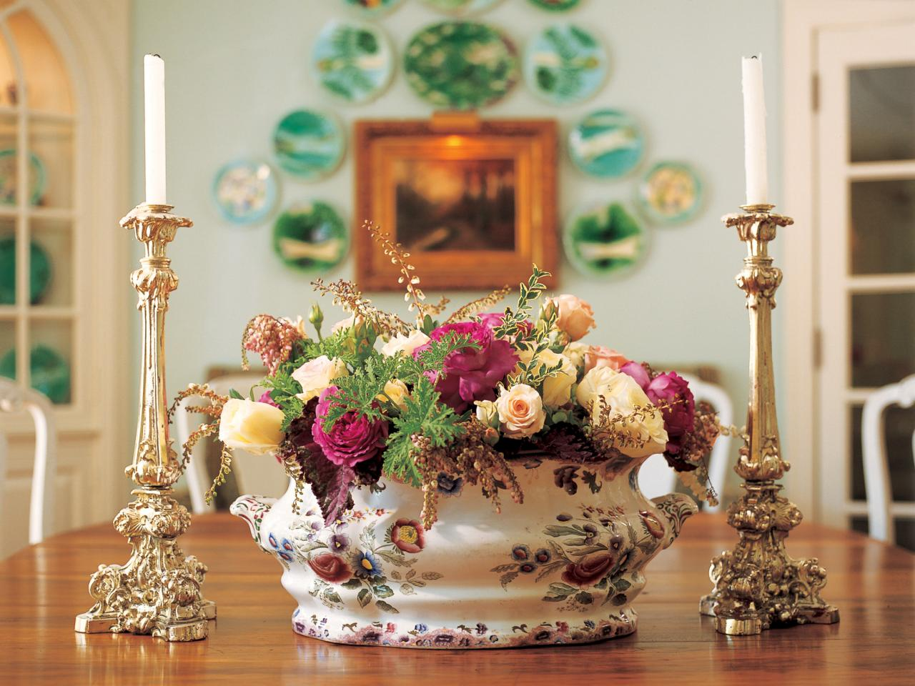 Table Dining Room Flower Arrangements By Last Minute Thanksgiving Centerpieces Hgtv U0027s Decorating U0026 Design