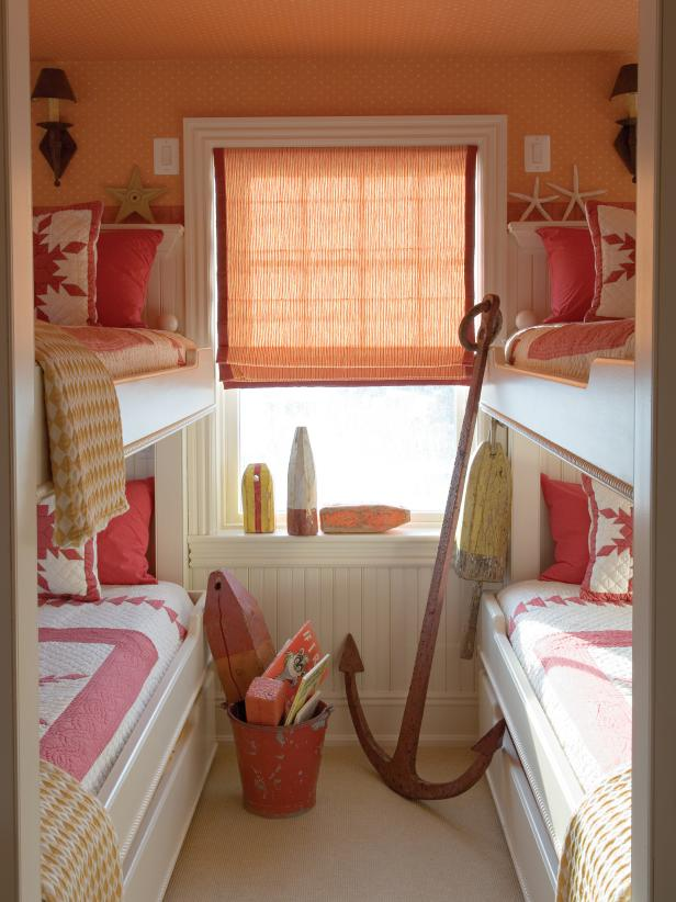 Red kids bedroom with twin trundle beds