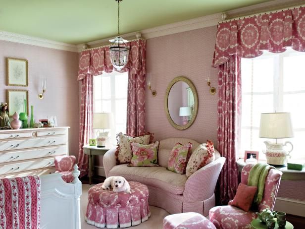 Pink Girl's Bedroom with Dog Sitting on Ottoman