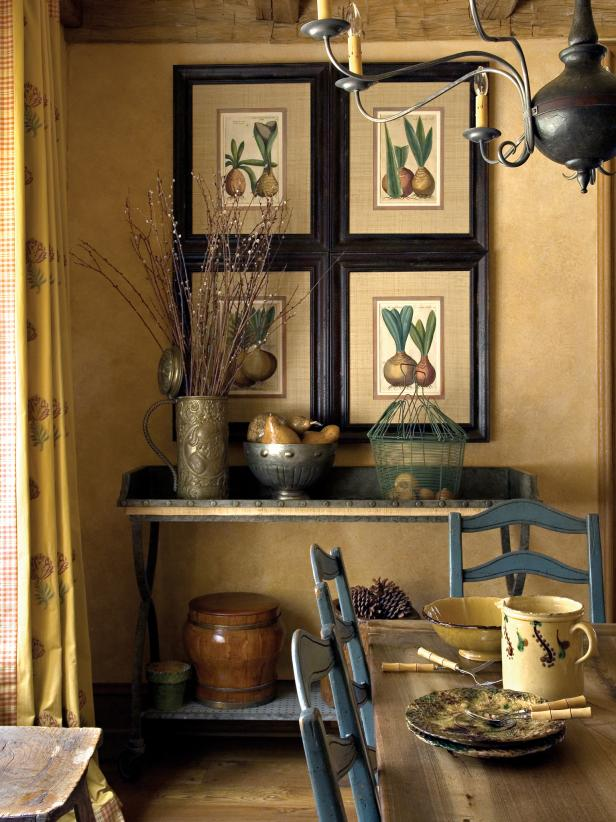 Neutral Dining Area With Botanical Drawings