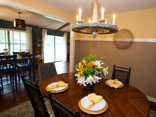 Eclectic Dining Room With Yellow and Brown Walls