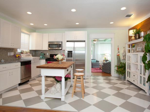 Cottage Kitchen With Gray and White Checkered Floor