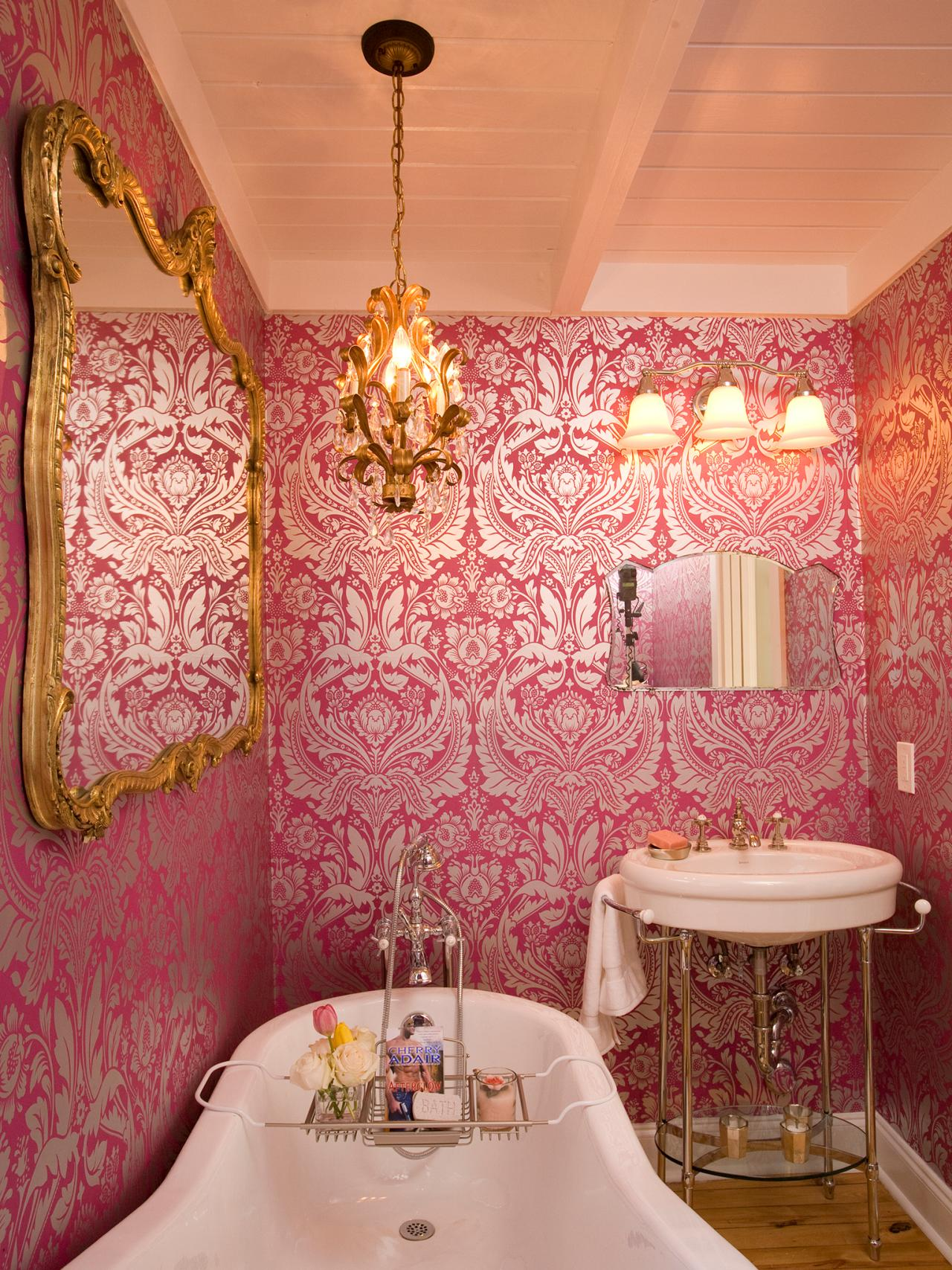 Victorian bathroom photos hgtv for Pink and gold bathroom accessories