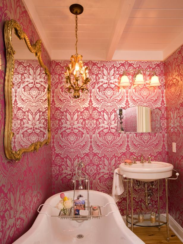 Bathroom with Pink Wallpaper and Gold Chandelier